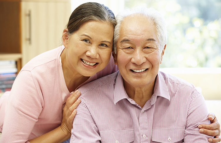 42108832 - senior asian couple at home