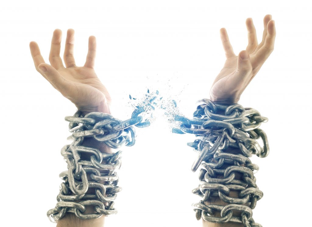 Photo of chains breaking - from article on breaking the chains of poverty - brought to you by the Farming God's Way Ministry of Heaven's Family