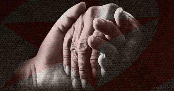 North Korean Christians holding hands