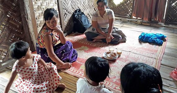 Nge Nge with children in kachin state, myanmar