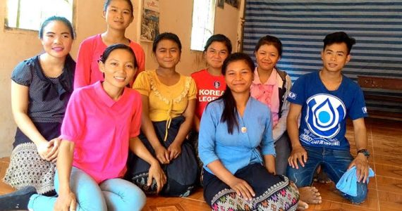 Sousida with students she protects from trafficking