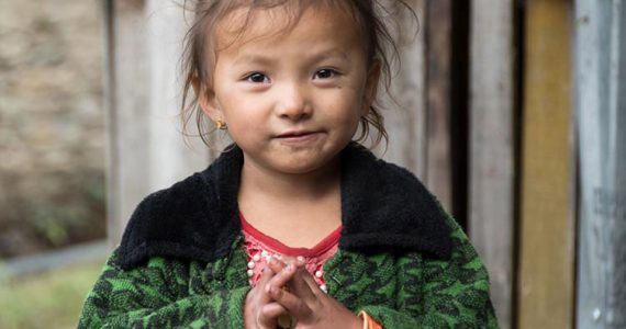 Little girl in Nepali village who was benefitted by our goats for girls project