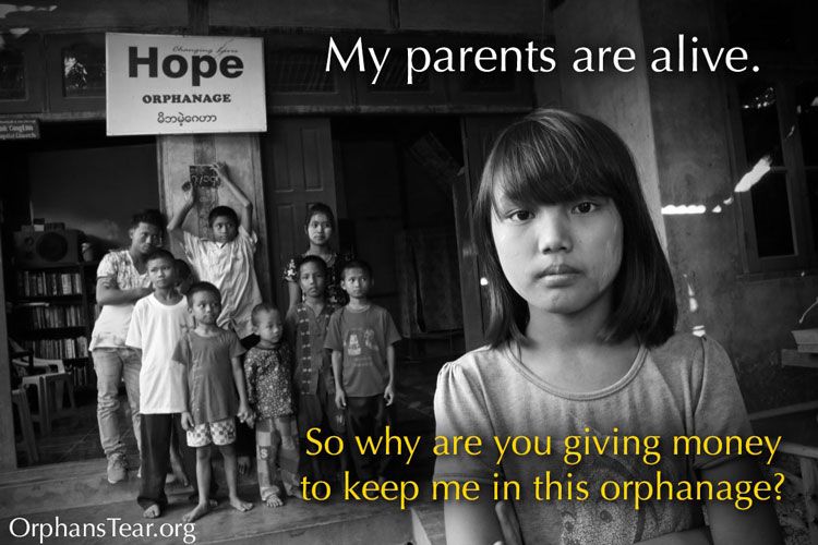 Picture of girl in front of orphanage in Myanmar