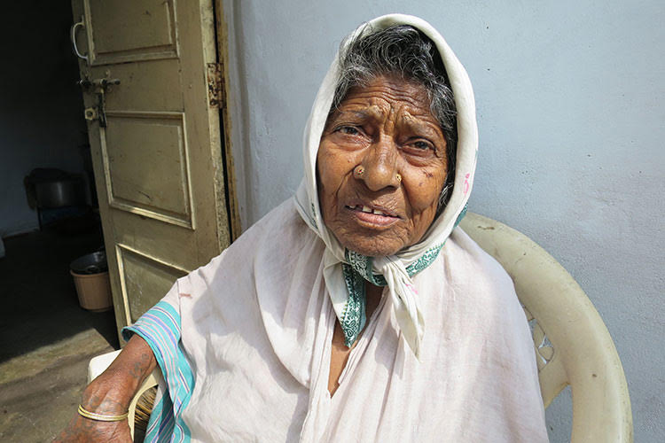 Widow staying at colony in India