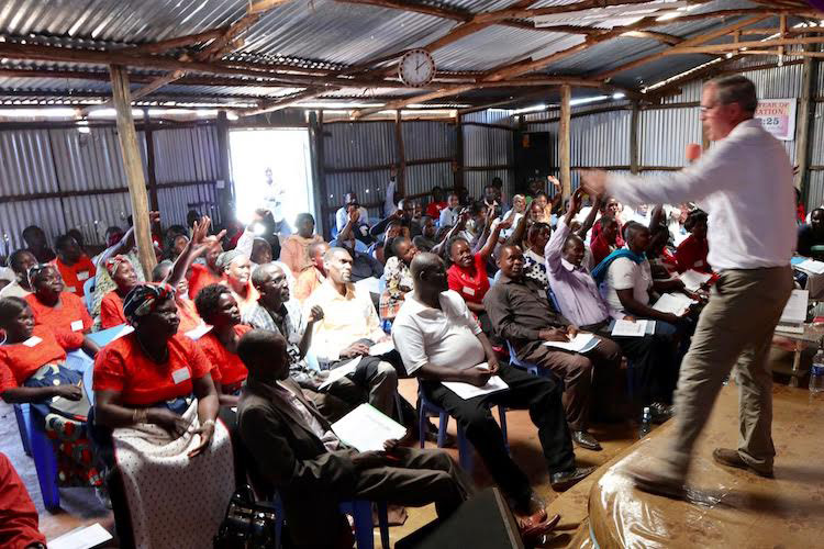 Micro-Loan Director Dan Steward teaching bankers and borrowers in Kenya