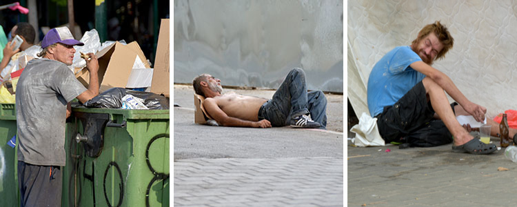 Three pictures of men living on the streets in Israel