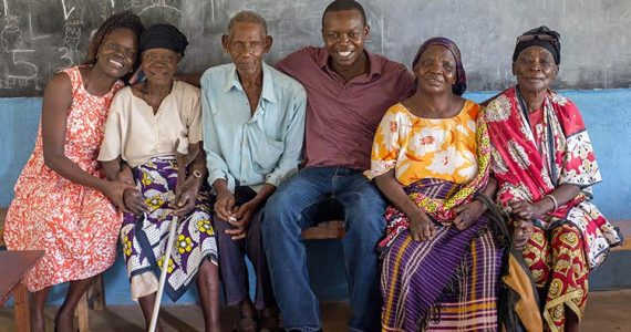Picture of Peter and Nancy Ochiel with leprosy-afflicted patients