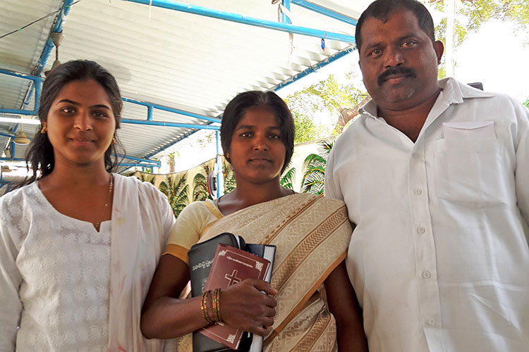 Family India before Easter baptism ceremony