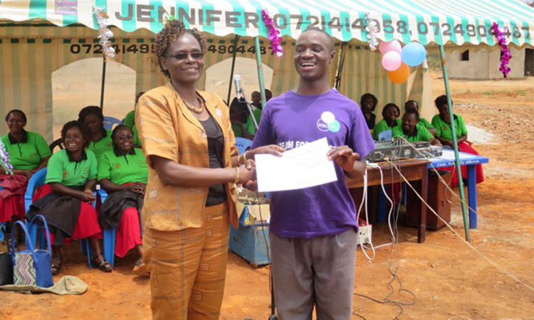 Picture of rehabilitated young man receiving certificate