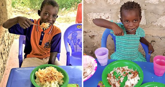 Picture of children in Kenya eating nutritious meal