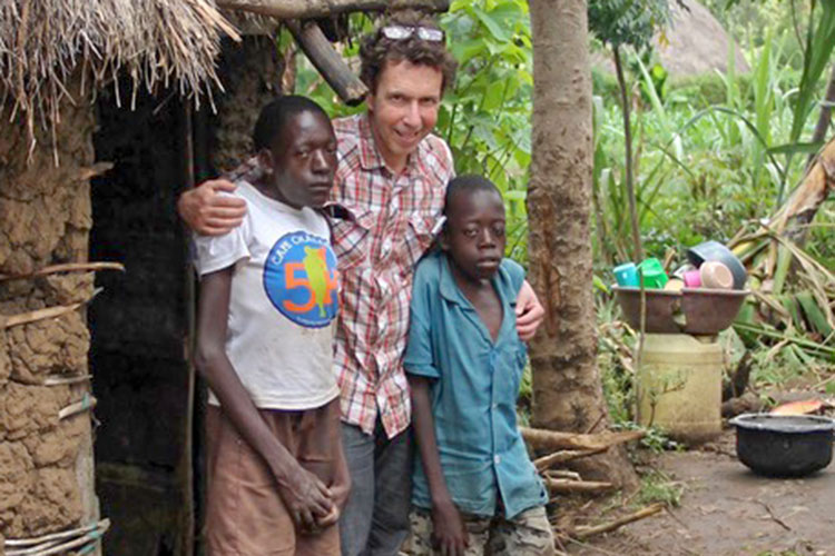 Picture of Carmen Parise with boys with disabilities in Kenya