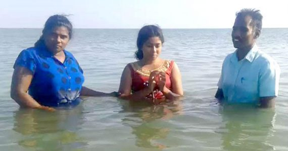 Picture of baptism in Sri Lanka
