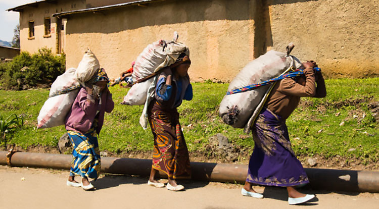 Picture of women in Africa carrying heavy items on their heads and backs