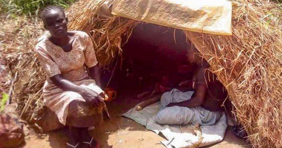 Picture of widow in makeshift hut in Uganda