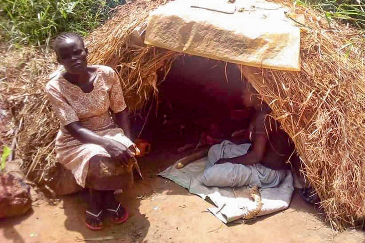 Picture of widow in makeshift hut in Uganda