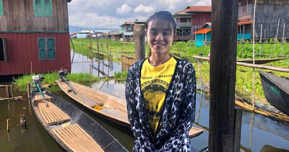 Picture of missionary in lake village in Myanmar