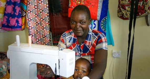 Picture of widow at sewing class in Kenya